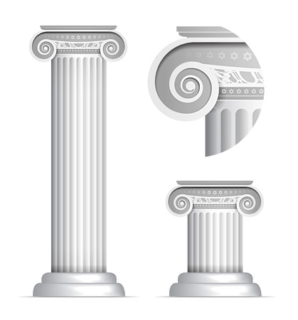 Vector illustration of classical Greek or Roman Ionic column on white background Vector