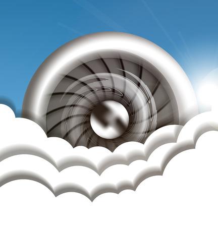 Jet engine in the sky vector illustration Illustration