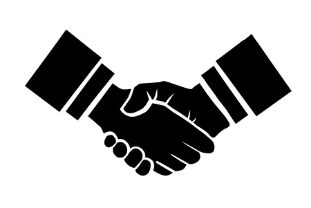 Handshake vector illustration. Background for business and finance Çizim