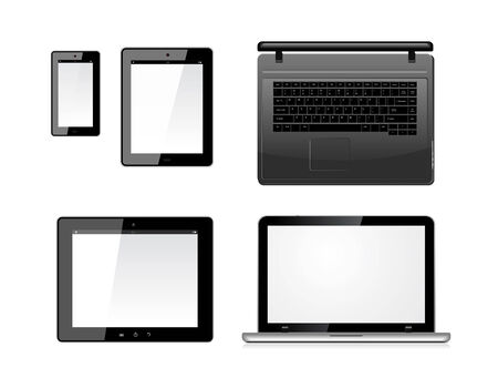 Laptop, tablet pc computer and mobile smartphone with a blank screen. Isolated on a white. Vector