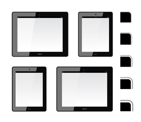 Tablet PC with different thickness of the shell. Just flip the horizontal and vertical elements Vector