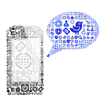 Icon group as speech bubble cloud and mobile phone. Vector illustration Vector