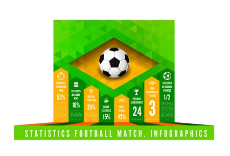 Soccer ball with brasil flag in triangle style. Vector infographics Vector
