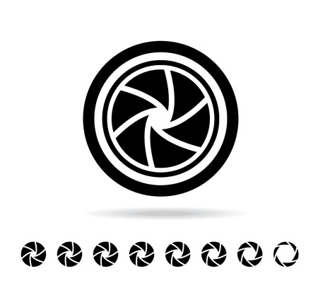 camera shutter vector illustration in flat style Vettoriali
