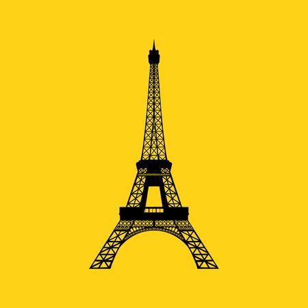 flat iron: Eiffel tower in Paris  Vector illustration on yellow