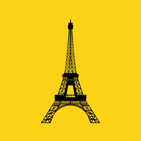 Eiffel tower in Paris  Vector illustration on yellow