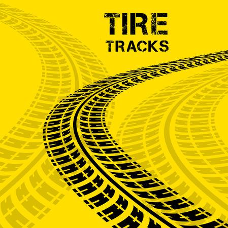 huellas de neumaticos: Huellas de neumáticos. Ilustración vectorial sobre fondo amarillo
