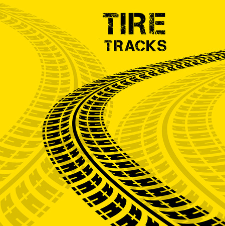car tracks: Tire tracks. Vector illustration on yellow background