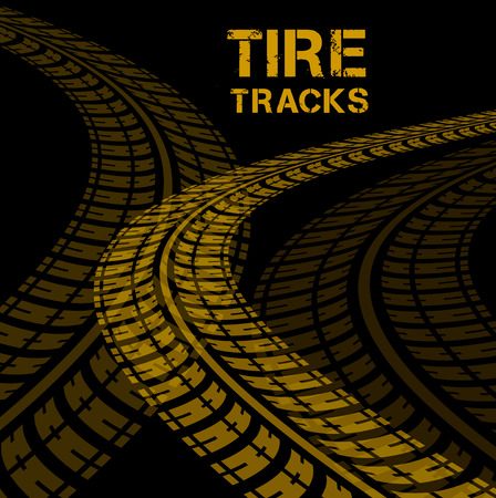 Tire tracks. Vector illustration on black background Vector