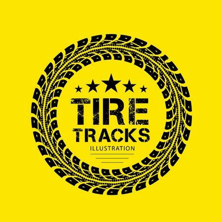 tyre tread: Tire tracks. Vector illustration on yellow background