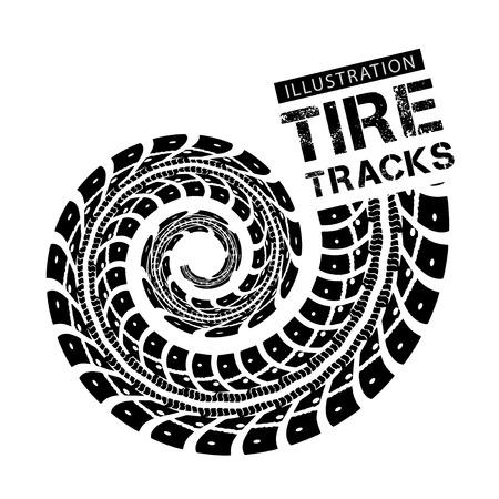 racing track: Tire tracks. Vector illustration on white background Illustration