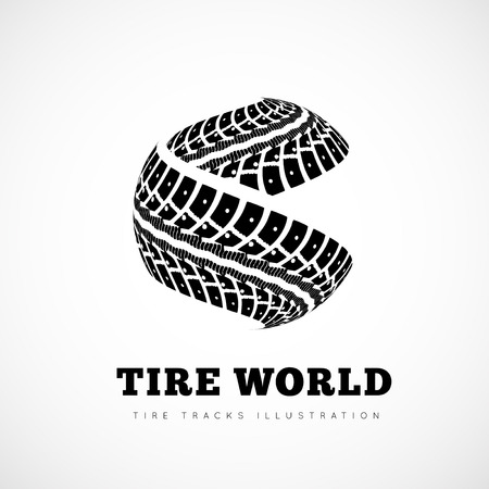 treads: Tire tracks sign in the form of spheres