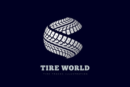 タイヤは球の形でサインを追跡します。  イラスト・ベクター素材