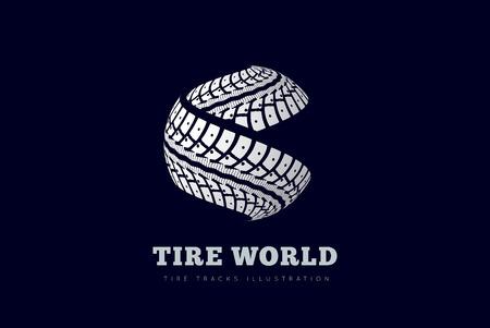 Traces de pneus signent sous la forme de sphères Banque d'images - 29429423