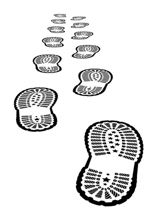 hiking boots: Shoe print  Illustration