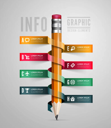 pencil: Creative Template with pencil ribbon Illustration