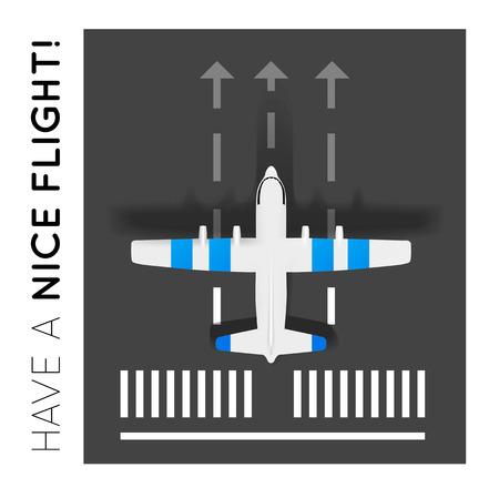 Flugzeug auf der Landebahn auf dem Flughafen Draufsicht