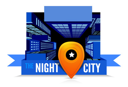 Night in the city  Top view Illustration