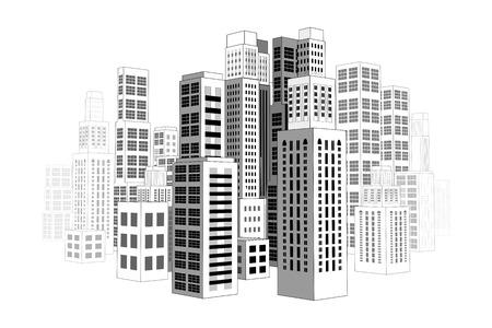 Ciudad con edificios y rascacielos Ilustración de vector