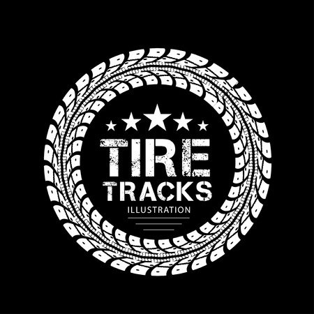 tire cover: Tire tracks  Illustration on black background Illustration
