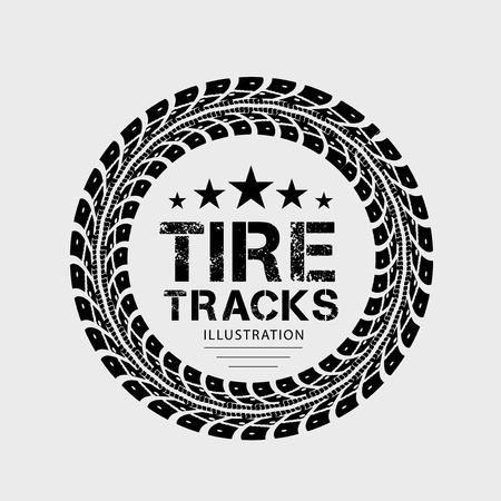 huellas de neumaticos: Huellas de neumáticos Ilustración sobre fondo gris