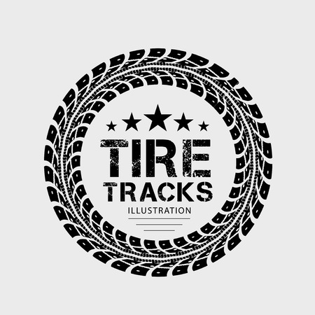 truck tractor: Tire tracks  Illustration on grey background