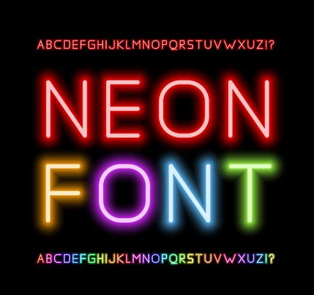 alphabet letter a: Neon Font Illustration