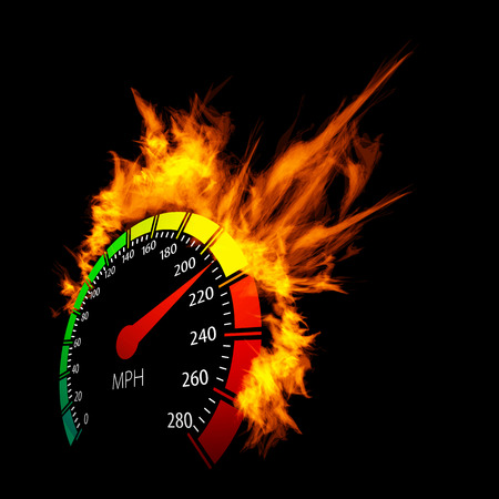speedmeter: Burning speedometer  Illustration