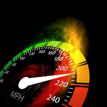 speeding car: Speedometer with speed fire path