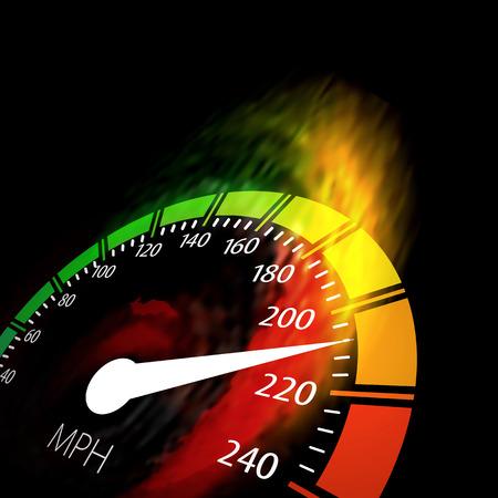 velocímetro: Velocímetro con el camino de fuego de velocidad