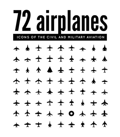 view from the plane: vector icons of airplanes