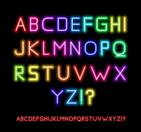 letras negras: Neon Fuente Vectores