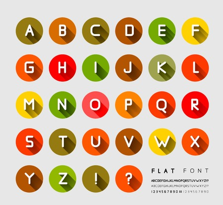 Flat font with long shadow.  Vector