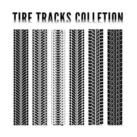 treads: Tire tracks collection. Vector illustration on white background