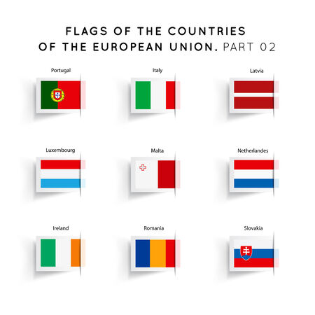 Vector Flags of EU countries on a white background. Part 02