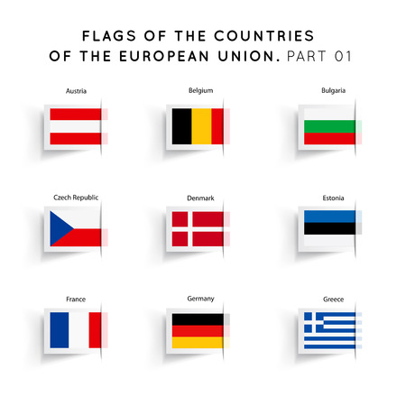 Vector Flags of EU countries on a white background. Part 01 Vector
