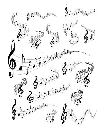 nota musical: Pentagrama onduladas. Conjunto de vectores en el fondo blanco