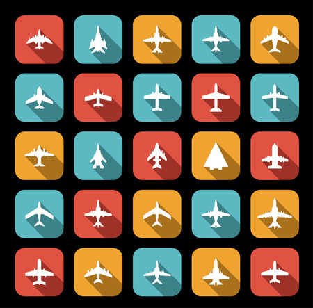 icons of airplanes in flat style Vector