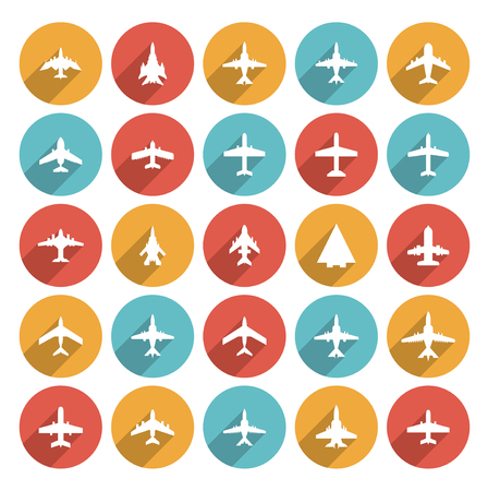 airplain: icons of airplanes in flat style
