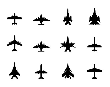airplain: icons of airplanes on white background