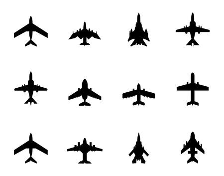 avion de chasse: icônes d'avions sur fond blanc Illustration