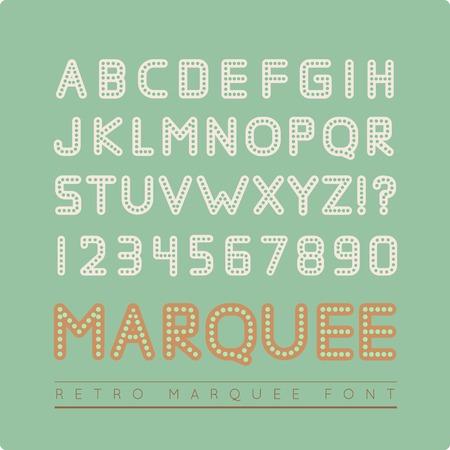 Retro marquee font Vector