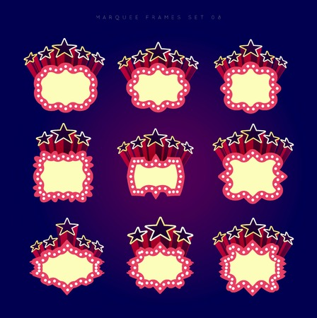 las vegas lights: Retro illuminated movie marquee vector set