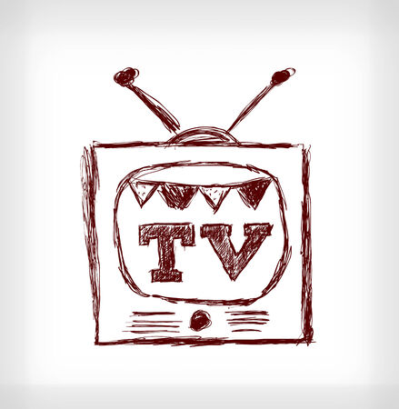 Retro christmas TV Vector