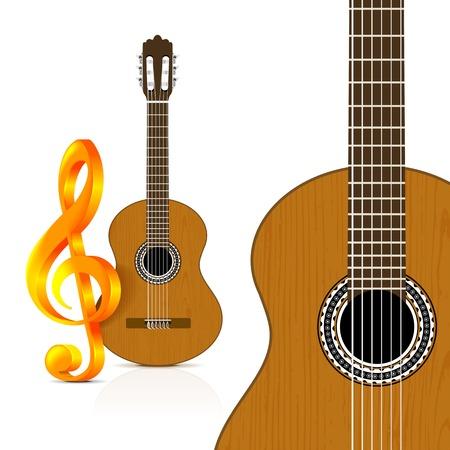 guitarra clásica: Guitarra cl�sica en el fondo blanco.