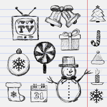 notepad background: Christmas Drawn. Vector Illustration on notepad background Illustration