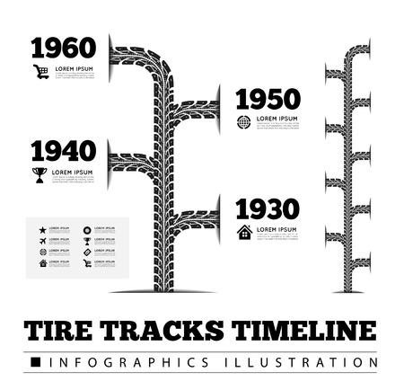 bike race: Tire tracks timeline infographics