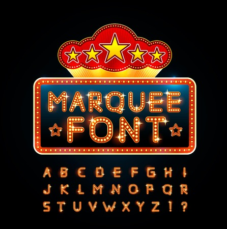 lights: Retro font Illustration