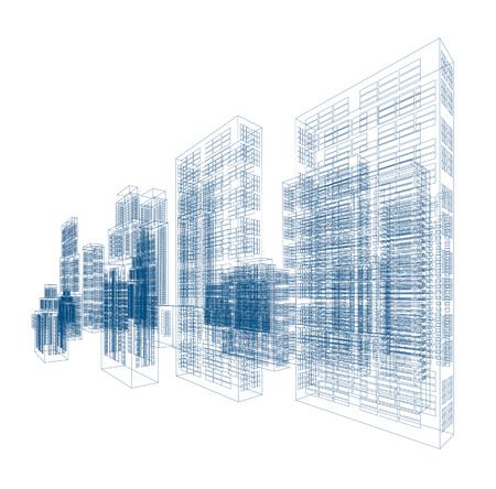 Drawings of skyscrapers and homes. Vector illustration isolated on white background