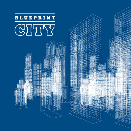 Drawings of skyscrapers and homes. Vector illustration isolated on blue background